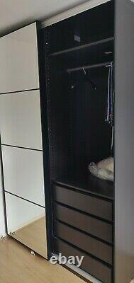 IKEA PAX WARDROBE FULL GLASS & BLACK GLASS SLIDING DOORs, DRAWERs
