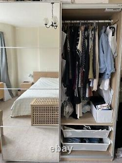 IKEA PAX Wardrobe Mehamn Oak Effect/Mirror Glass Sliding Doors (Cardiff)
