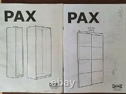 IKEA PAX White Wardrobe with Mirror Sliding Doors and KOMPLEMENT Fittings