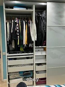 IKEA PAX white oak effect/mirror sliding glass doors 2m wardrobe with 10 drawers