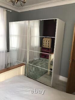 IKEA White Large Double Sliding Mirrored Doors Wardrobe 2mx2m