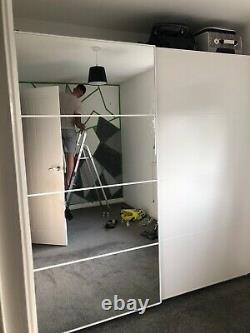 IKEA pax wardrobe white gloss sliding doors with mirror amazing condition