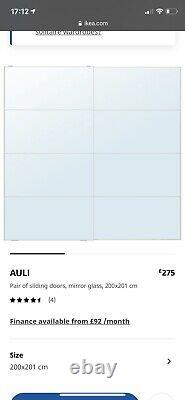 Ikea Auli Mirror Sliding Wardrobe Doors 200x201 Good Condition Soft Close