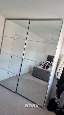 Ikea Pax Wardrobe With Mirrored Sliding Doors and Internal LED Sensor Lights