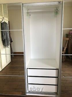 Ikea Pax Wardrobes 3mx66.5cm 201cm tall multiple drawers & sliding mirror doors