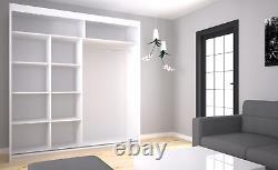 LARGE MODERN WARDROBE 2 Sliding Doors Mirrored Furniture 200cm MRPA200