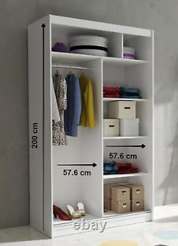 LINA V 2 SLIDING DOOR MODERN WARDROBE, MIRROR IN CENTRE, 120 cm WIDE, WHITE