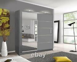 LYON Bedroom Sliding door Wardrobe (5 Sizes) (4 Colour) With LED