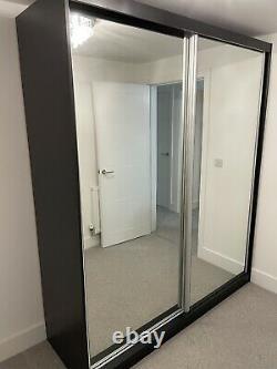Large Black Sliding Mirrored Door Wardrobe