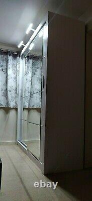 Large Sliding Mirror Wardrobe Doors White With Two Led Lights 180cm