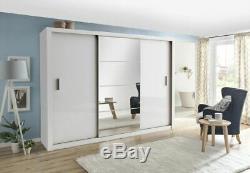 Large mirrored wardrobe 250 cm CLEO 1 3 sliding door white colour