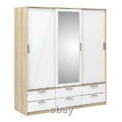 Line Modern Mirror 3 Sliding Door 6 Drawer Wardrobe in High Gloss White and Oak