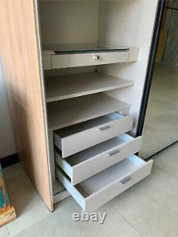 Luxury Large sliding 2 door mirrored wardrobe SATINO 167cm San Remo Oak Sand