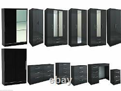 Lynx All Black Gloss Bedroom Furniture Wardrobe Chest by Birlea Large Sizes
