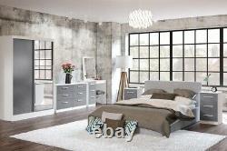 Lynx White & Grey Bedroom Furniture-Bedside/chests/wardrobes/Dressing Tables