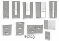 Lynx White & Grey Gloss Bedroom Furniture Wardrobe Chest Bedside by Birlea