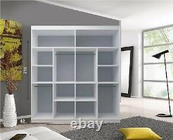 Lyon 2 and 3 Mirror Sliding Door Wardrobe In Grey Color and 5 Sizes