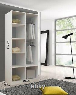 Lyon 2 and 3 Mirror Sliding Door Wardrobe In White Color and 5 Sizes