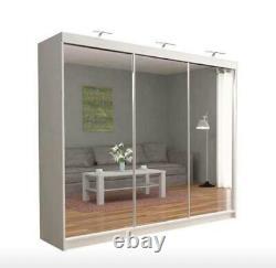 MODERN Bedroom Sliding door Wardrobe (6 Sizes) (4 Colour) With Optional LED