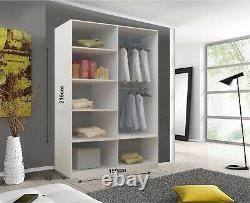 Milan 2 and 3 Mirror Sliding Door Wardrobe In Grey Color and 6 Sizes With LED