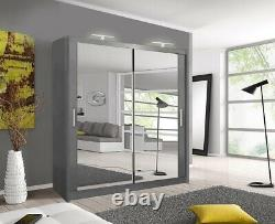 Milan Bedroom Sliding door Wardrobe (6 Sizes) (4 Color) With LED