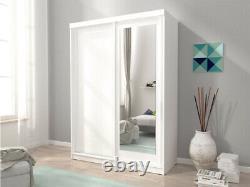 Mini 2 Sliding Doors Bedroom Small Mirrored Wardrobe White Light Oak Brown W150