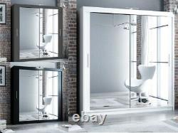 Mirror Sliding Door Modern Bedroom Wardrobe DAKO 3 Optional LED 5 SIZES 3 COLORS