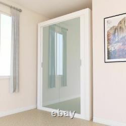 Mirrored Double 2 Door Sliding Wardrobe Black Grey White