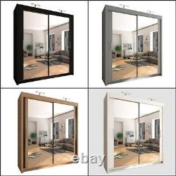 Mirrored Double Sliding Doors Wardrobe with Free LED Lights 5 Sizes & 4 Colours