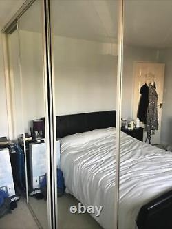Mirrored wardrobe sliding doors, With Tracks, 4 Full Length Mirror Doors