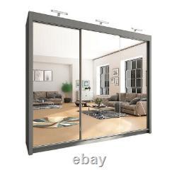 Modern 3 Sliding Door Wardrobe with LED Lights 250cm (black, white, grey, Oak)