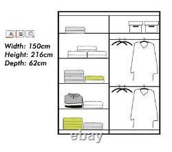 Modern Bedroom Mirror Sliding Door High Gloss Wardrobe INFINITY 3 COLORS 2 SIZES