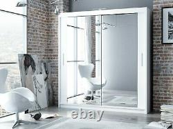 Modern Bedroom Mirror Sliding Door Wardrobe DAKO 3 Optional LED White in 5 SIZE