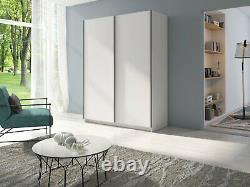 Modern Bedroom Sliding Door Wardrobe Gozo 150cm in White Matt