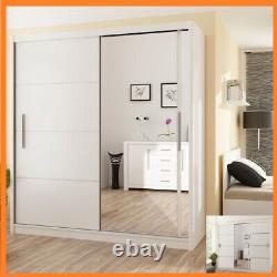 Modern Bedroom Sliding Door Wardrobe with Mirror DAKO VESTO White 4 Sizes