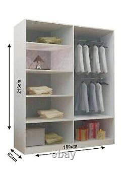 Modern Bedroom Sliding door Wardrobe Milan 6 Sizes 4 Color