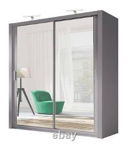 Modern Bedroom Sliding door Wardrobe Milan 6 Sizes 4 Colour Optional 2 LED