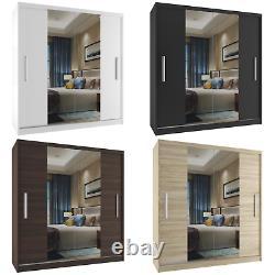 Modern Bedroom Wardrobe Sliding Door Mirror Hanging Rail Shelves