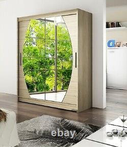 Modern Brand New Wardrobe WENDY 8 Double Mirror Sliding Doors Shelves 150cm