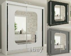 Modern Double Sliding 2 Doors Mirrored MARIKA Wardrobe with Led 2 Sizes 3 Colors
