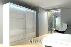 Modern Double Sliding Door WARDROBE with MIRROR / LACOBEL bedroom living hallway
