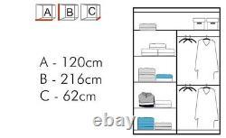 Modern Double Sliding Door Wardrobe Mirror CHICAGO 6 COLOURS 5 SIZES 1 LED