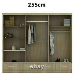Modern High Gloss Sliding 2 or 3 Doors Long Led Wardrobe in 3 Colours 2 Sizes