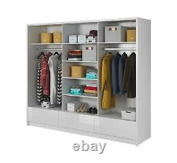 Modern Wardrobe ARA 250 mirror sliding doors 3 drawers shine front FREE DELIVERY