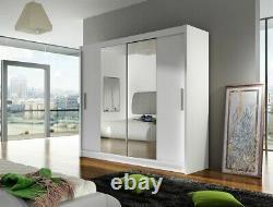 Modern Wardrobe BRAVA 2 WHITE Sliding Doors Mirror Hanging Rail Shelves 180 cm