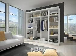 Modern Wardrobe MU 233cm 7 ft 8 wide 2 sliding doors mirror perfect interior