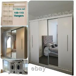 NAPOLI 203cm Large Wardrobe with Sliding Doors and Mirror White Steel handles
