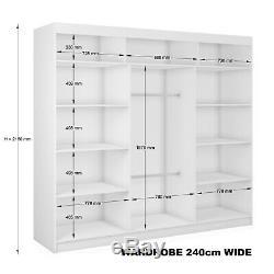 NEW WARDROBE With MIRRORS sliding doors bedroom hallway living furniture 5 sizes