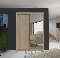 NEW Wardrobe Oak effect with Mirror Sliding Doors Colours available Modern