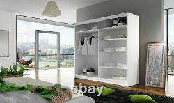 New Bedroom Wardrobe BRAVA 4 Sliding Doors Mirror Hanging Rail Shelves 180 cm